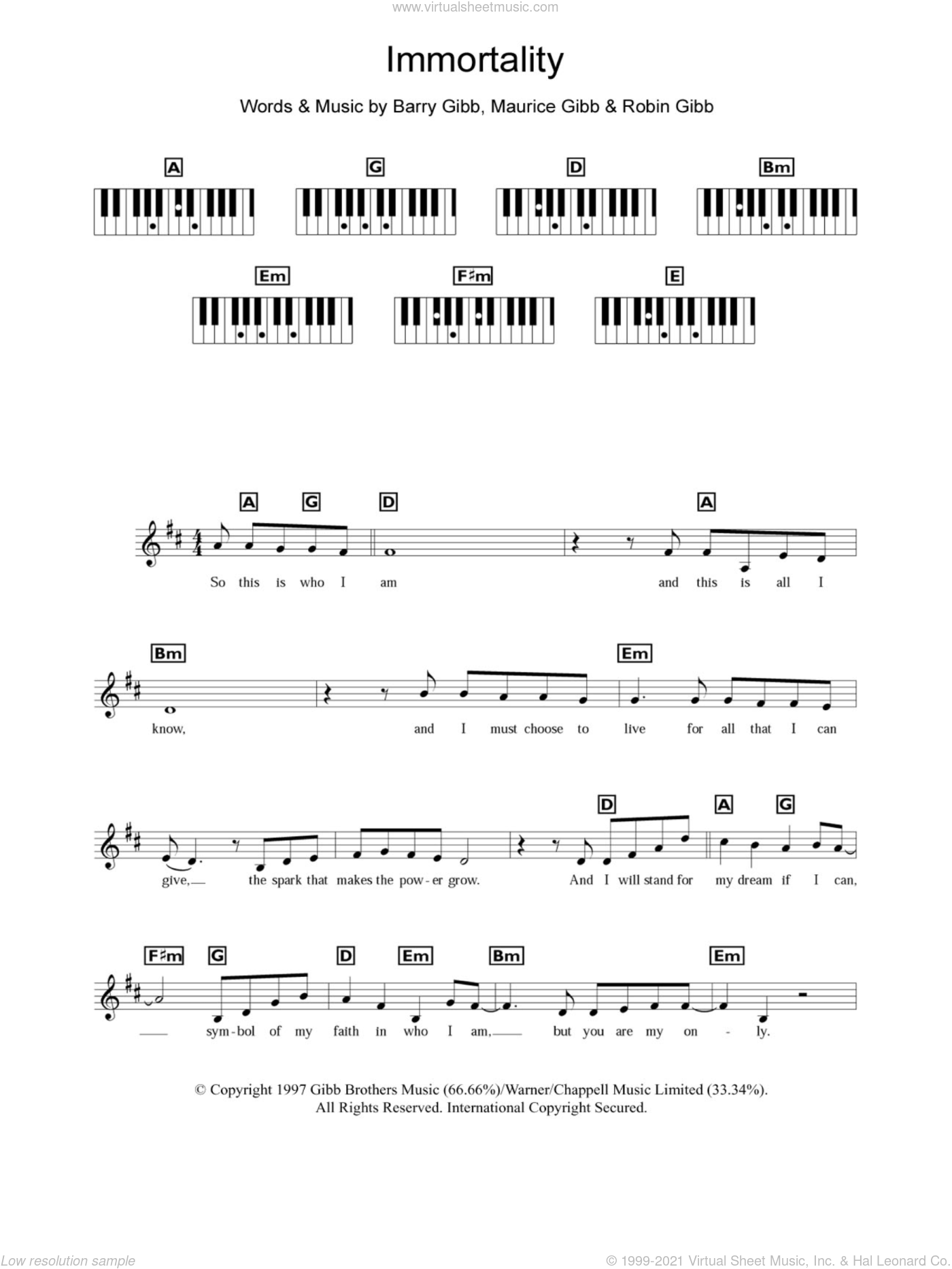 Immortality sheet music for piano solo (chords, lyrics, melody) by Robin Gibb, Celine Dion, Barry Gibb and Maurice Gibb. Score Image Preview.