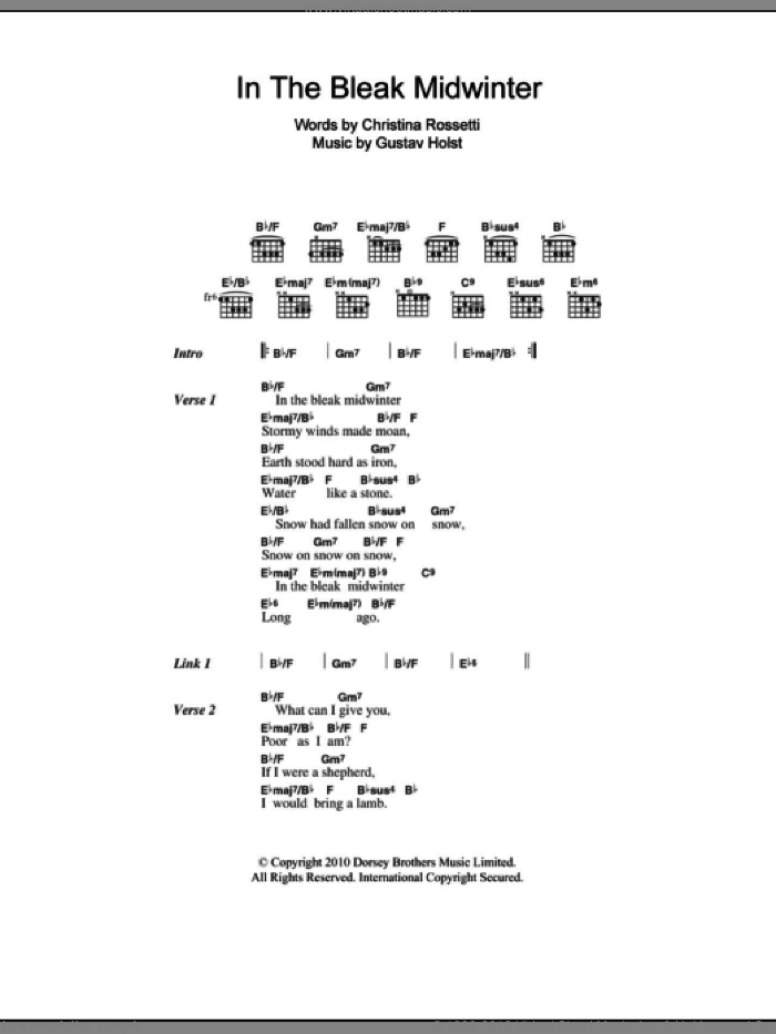 In The Bleak Midwinter sheet music for guitar (chords) by Shawn Colvin, Christina Rossetti and Gustav Holst, Christmas carol score, intermediate guitar (chords). Score Image Preview.