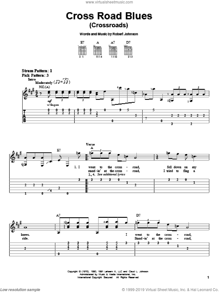 Cross Road Blues (Crossroads) sheet music for guitar solo (easy tablature) by Robert Johnson, Cream and Eric Clapton, easy guitar (easy tablature). Score Image Preview.