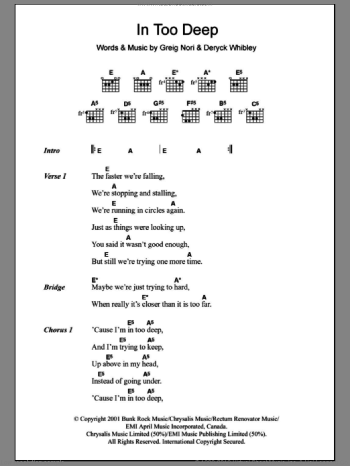In Too Deep sheet music for guitar (chords, lyrics, melody) by Greig Nori