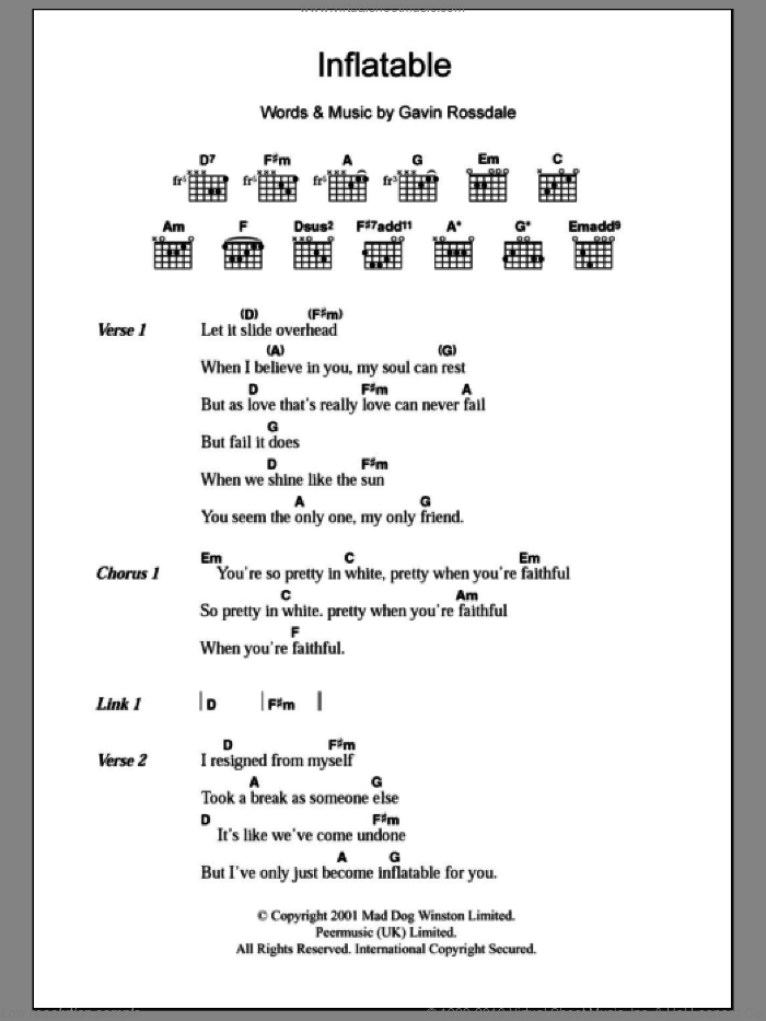 Inflatable sheet music for guitar (chords) by Gavin Rossdale. Score Image Preview.