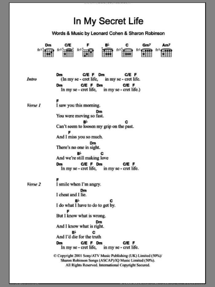 Cohen - In My Secret Life sheet music for guitar (chords) [PDF]