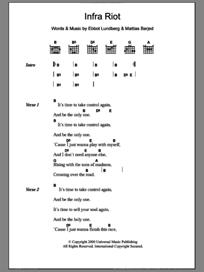 Infra Riot sheet music for guitar (chords) by The Soundtrack Of Our Lives. Score Image Preview.