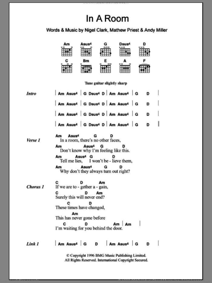 In A Room sheet music for guitar (chords) by Nigel Clark, Dodgy and Andy Miller. Score Image Preview.