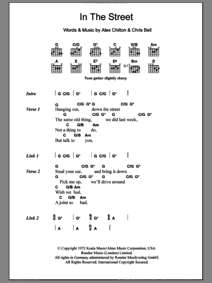In The Street sheet music for guitar (chords) by Chris Bell and Alex Chilton. Score Image Preview.