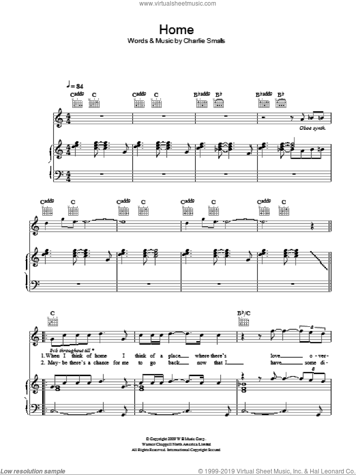 Home sheet music for voice, piano or guitar by Glee Cast and Charlie Smalls, intermediate. Score Image Preview.