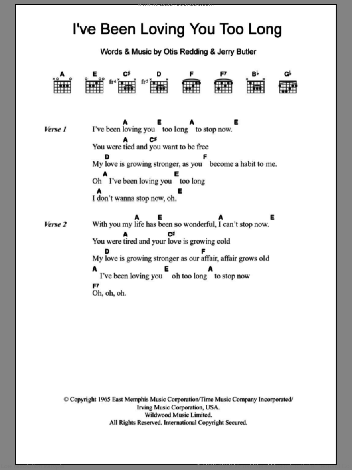 I've Been Loving You Too Long sheet music for guitar (chords) by Otis Redding and Jerry Butler, intermediate. Score Image Preview.