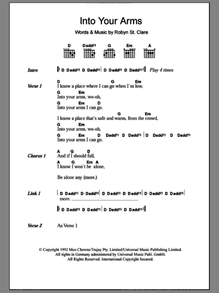 Into Your Arms sheet music for guitar (chords, lyrics, melody) by Robyn St. Clare