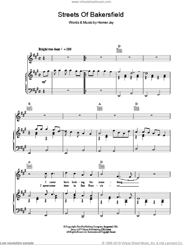 Streets Of Bakersfield sheet music for voice, piano or guitar by Dwight Yoakam, intermediate. Score Image Preview.