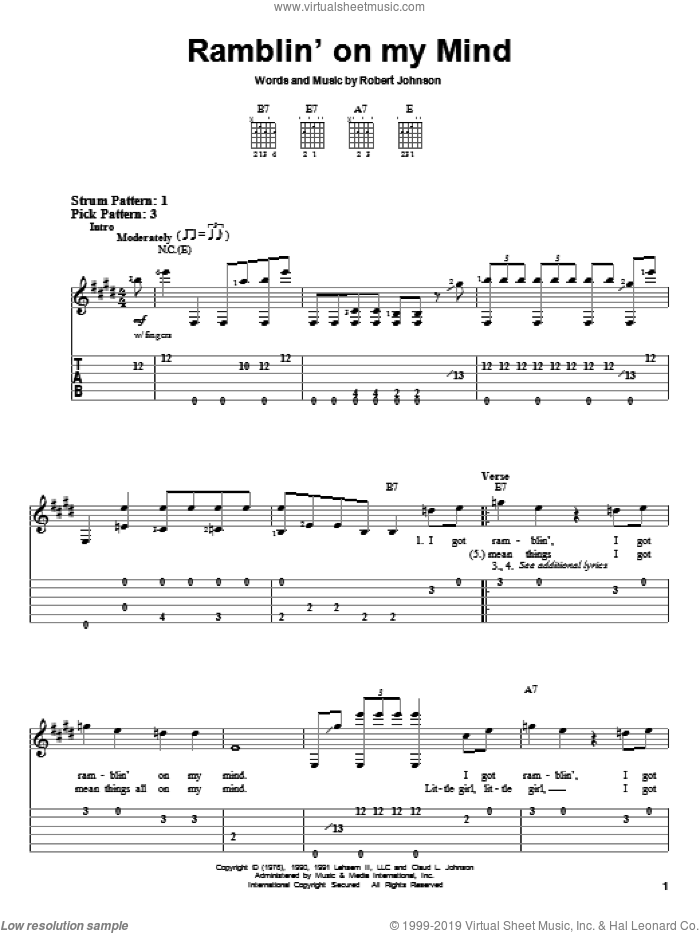 Ramblin' On My Mind sheet music for guitar solo (easy tablature) by Robert Johnson and Eric Clapton. Score Image Preview.