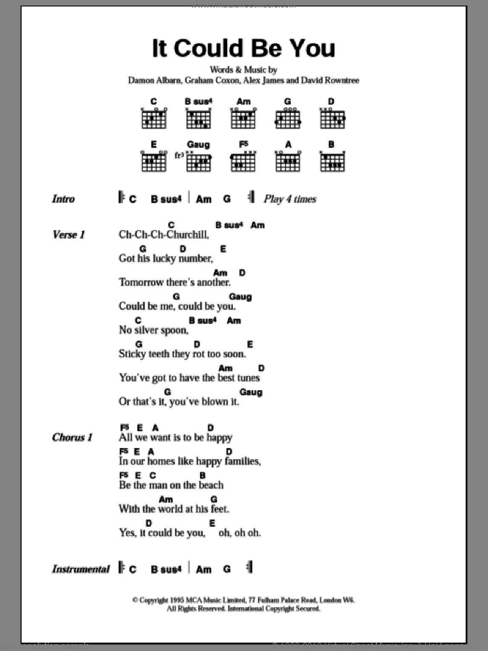 It Could Be You sheet music for guitar (chords) by Blur, Alex James, Damon Albarn, David Rowntree and Graham Coxon, intermediate. Score Image Preview.