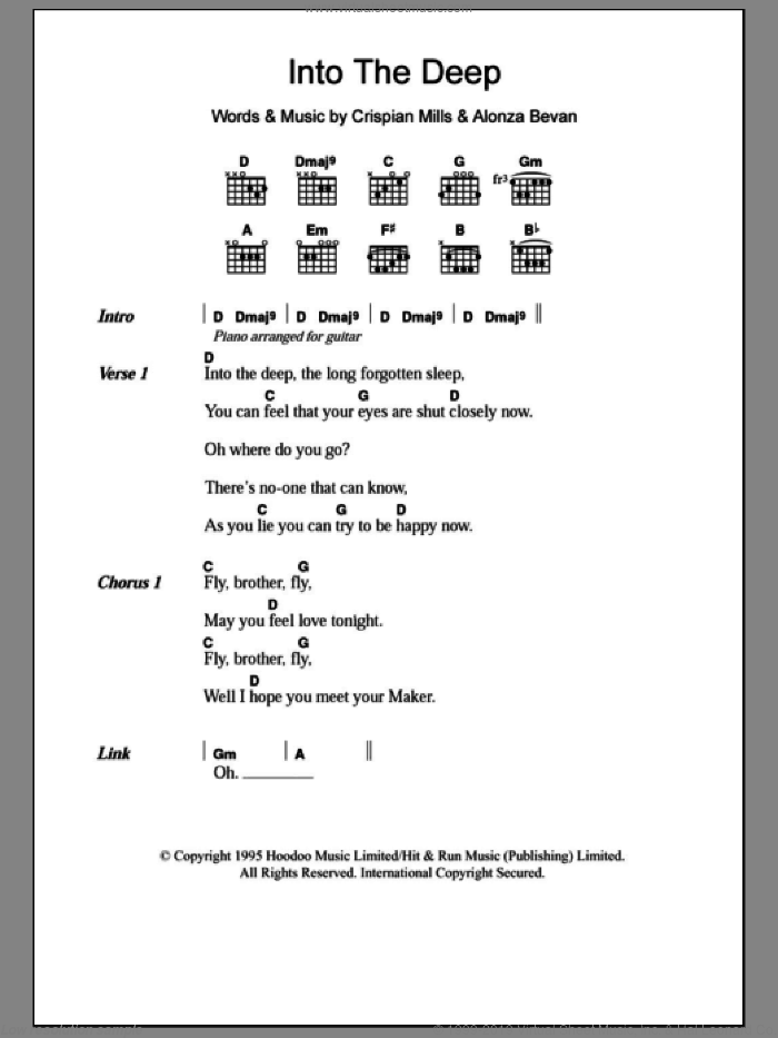 Into The Deep sheet music for guitar (chords) by Crispian Mills, Kula Shaker and Alonza Bevan. Score Image Preview.