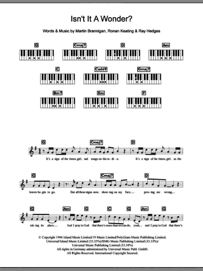 Isn't It A Wonder? sheet music for piano solo (chords, lyrics, melody) by Ronan Keating and Boyzone. Score Image Preview.