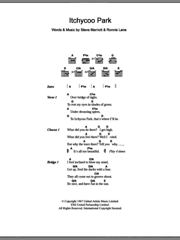Itchycoo Park sheet music for guitar (chords, lyrics, melody) by Steve Marriott