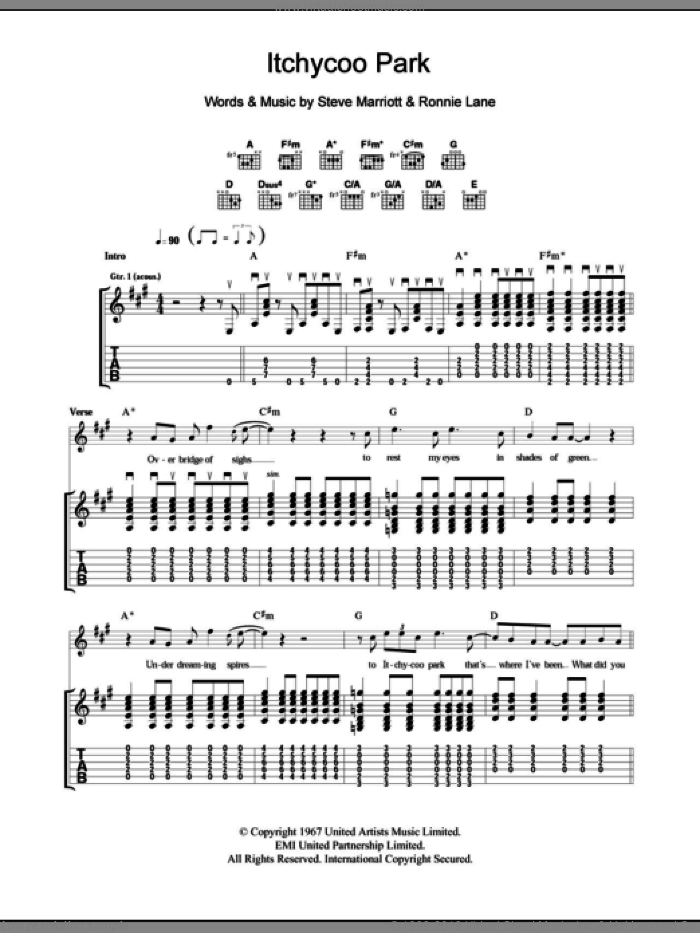 Itchycoo Park sheet music for guitar (tablature) by The Small Faces, Ronnie Lane and Steve Marriott, intermediate. Score Image Preview.