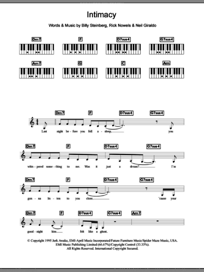Intimacy sheet music for piano solo (chords, lyrics, melody) by The Corrs and Billy Steinberg, intermediate piano (chords, lyrics, melody). Score Image Preview.