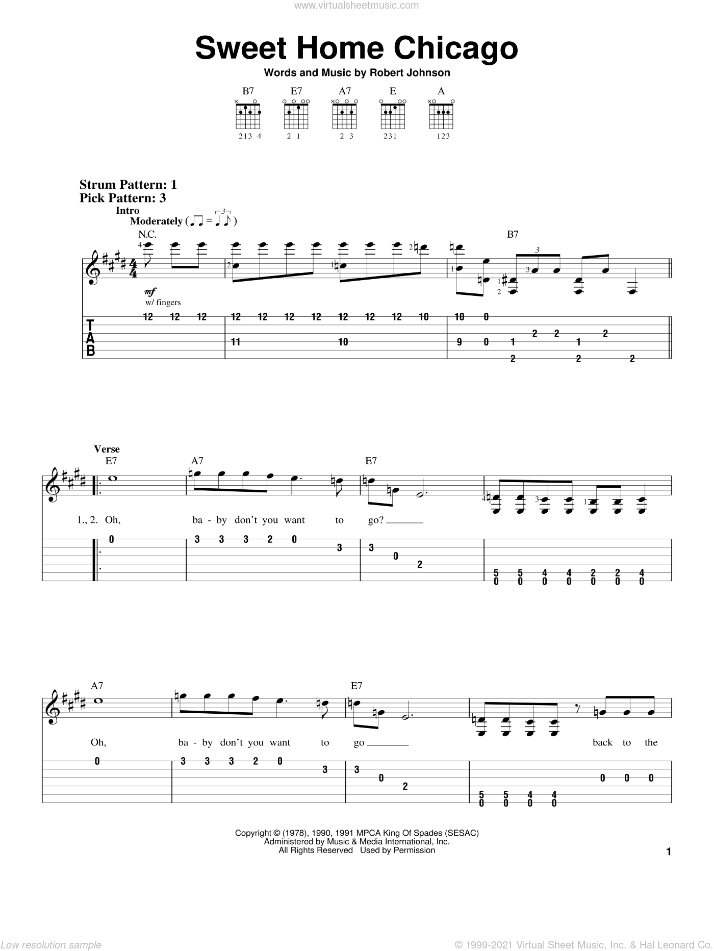 Sweet Home Chicago sheet music for guitar solo (easy tablature) by Robert Johnson and Blues Brothers. Score Image Preview.