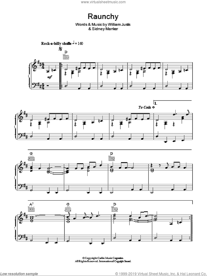 Raunchy sheet music for piano solo by Sidney Manker and William Justis. Score Image Preview.