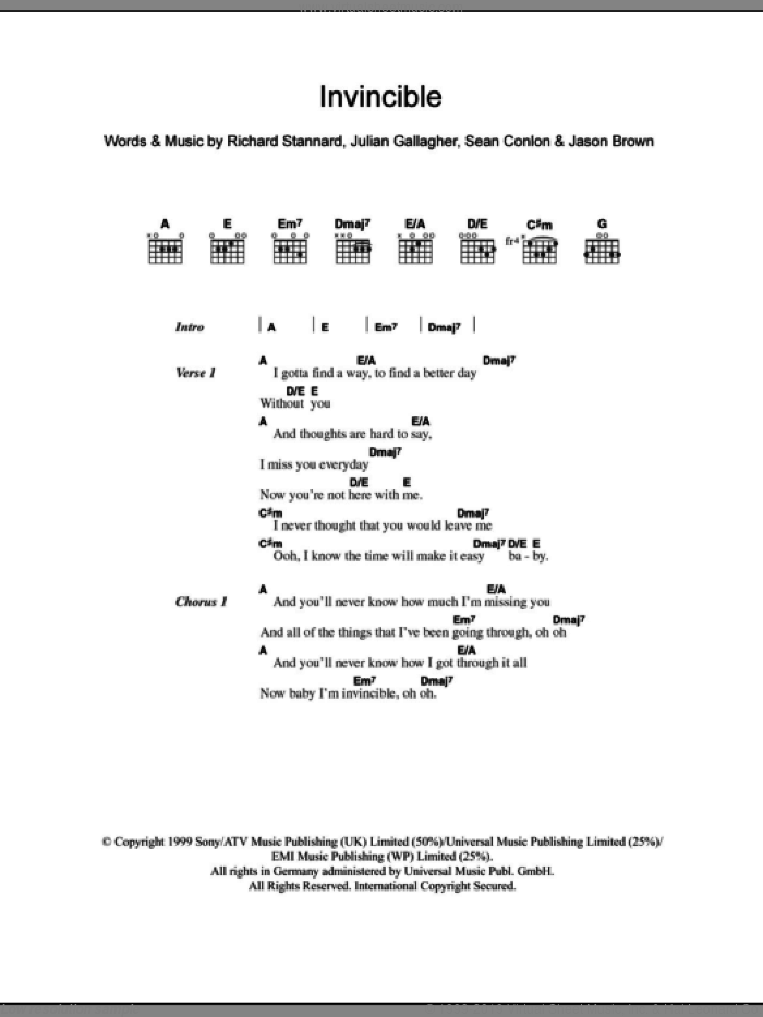Invincible sheet music for guitar (chords, lyrics, melody) by Sean Conlon