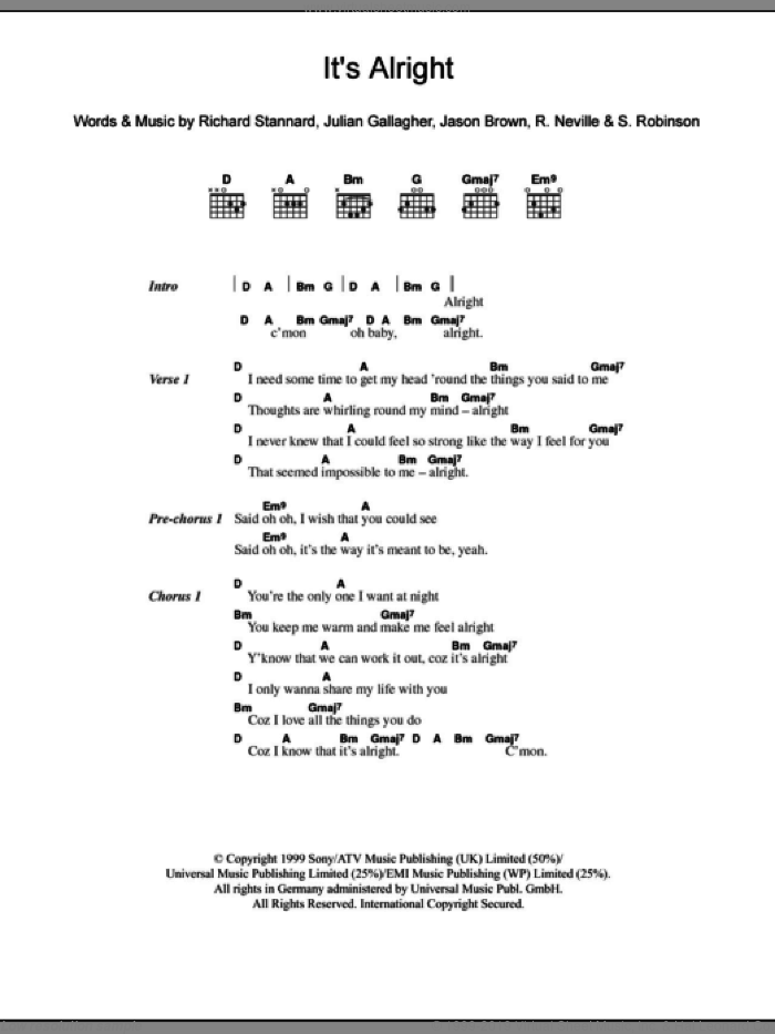It's Alright sheet music for guitar (chords) by Sylvia Robinson, Ben Folds Five and Richard Stannard, intermediate guitar (chords). Score Image Preview.