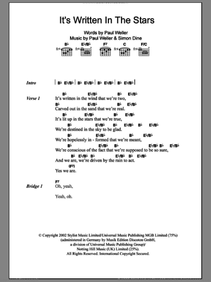 It's Written In The Stars sheet music for guitar (chords) by Paul Weller, intermediate. Score Image Preview.