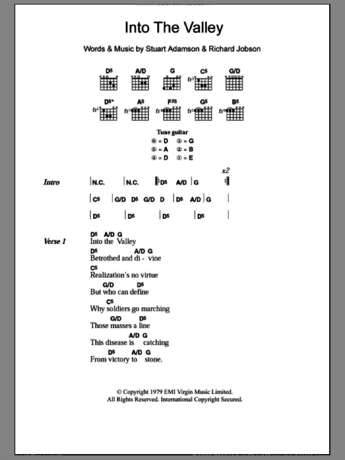 Into The Valley sheet music for guitar (chords) by The Skids, intermediate guitar (chords). Score Image Preview.
