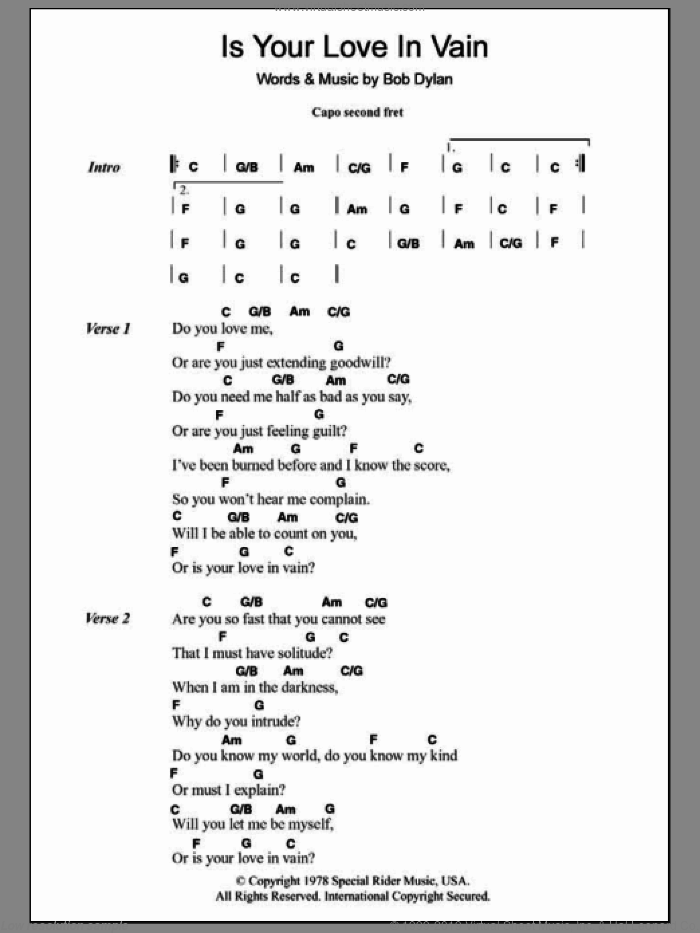 Is Your Love In Vain sheet music for guitar (chords) by Bob Dylan. Score Image Preview.