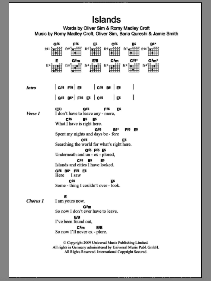 Islands sheet music for guitar (chords) by The XX, Baria Qureshi, Jamie Smith, Oliver Sim and Romy Madley Croft, intermediate. Score Image Preview.