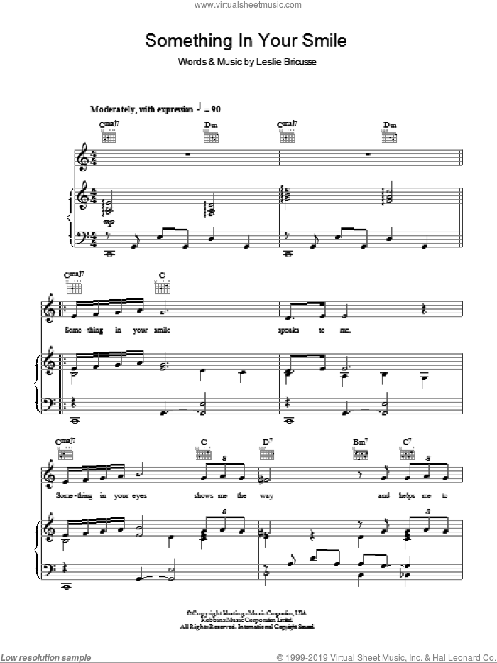 Something In Your Smile sheet music for voice, piano or guitar by Leslie Bricusse