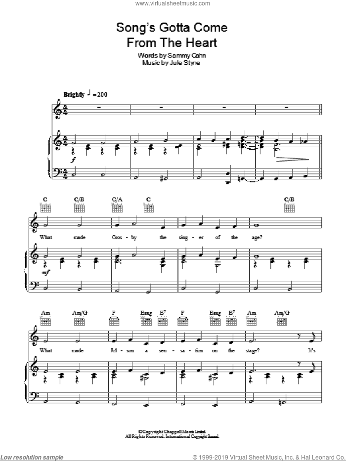 The Song's Gotta Come From The Heart sheet music for voice, piano or guitar by Sammy Cahn, Frank Sinatra and Jule Styne. Score Image Preview.