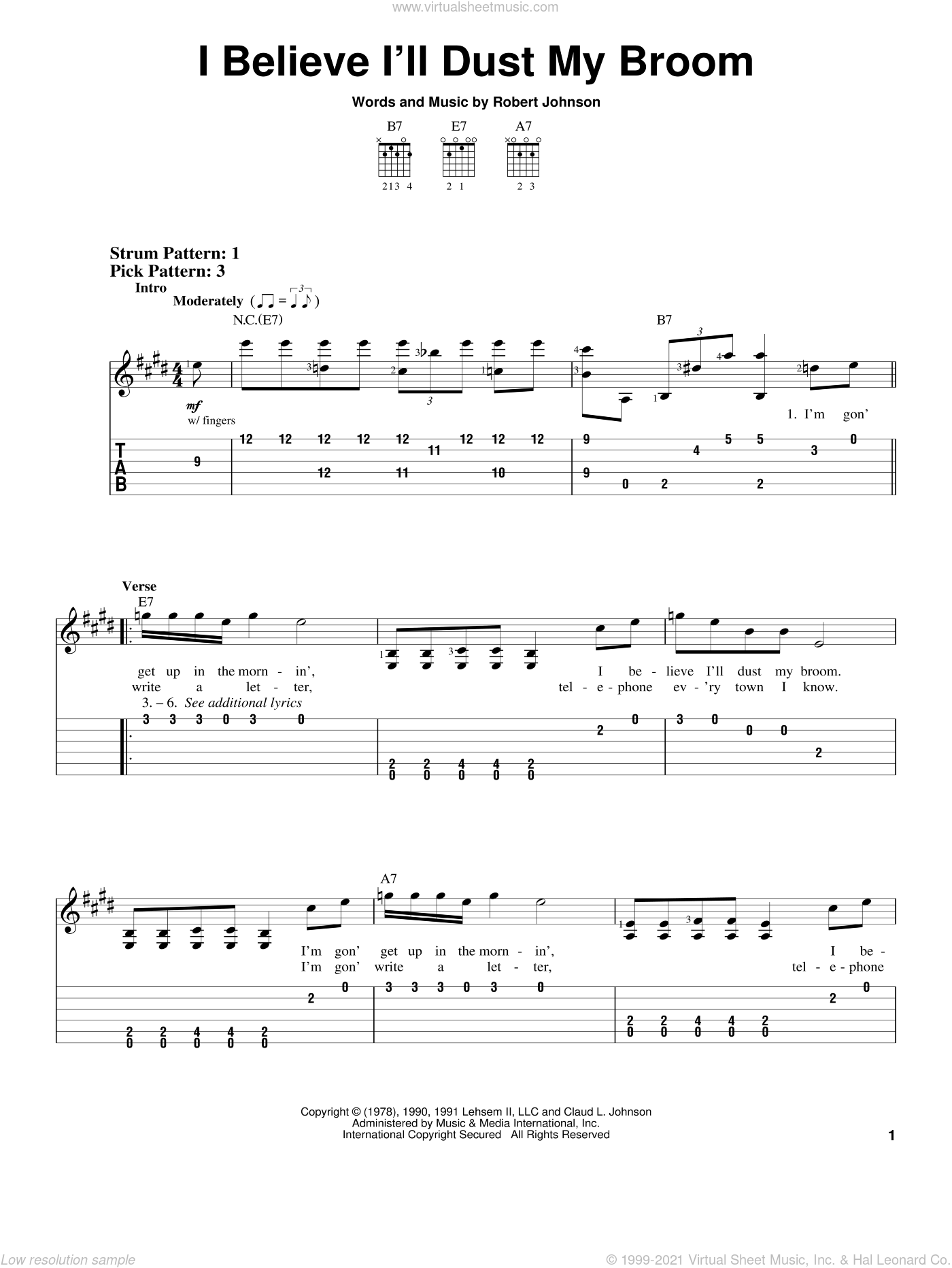 I Believe I'll Dust My Broom sheet music for guitar solo (easy tablature) by Robert Johnson, easy guitar (easy tablature)