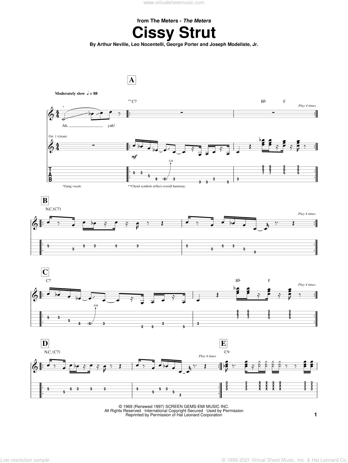 Cissy Strut sheet music for guitar (tablature) by The Meters, Arthur Neville and Leo Nocentelli. Score Image Preview.
