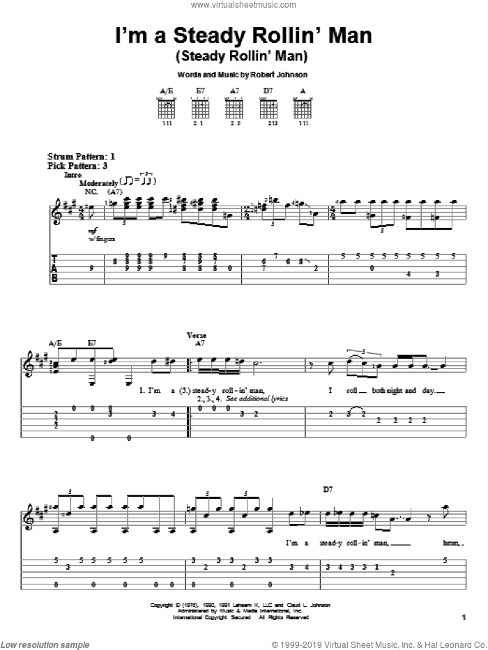 I'm A Steady Rollin' Man (Steady Rollin' Man) sheet music for guitar solo (easy tablature) by Robert Johnson and Eric Clapton. Score Image Preview.