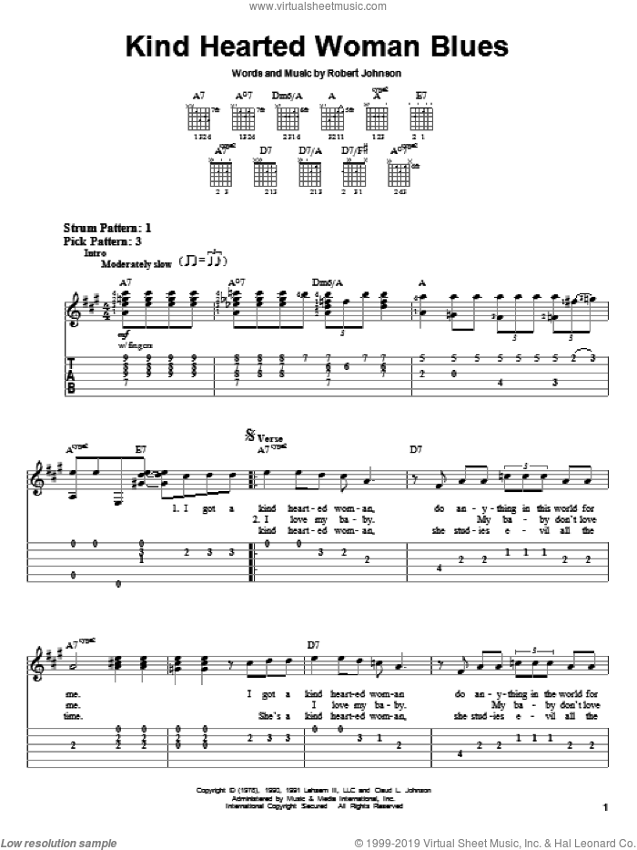 Kind Hearted Woman Blues sheet music for guitar solo (easy tablature) by Robert Johnson, easy guitar (easy tablature). Score Image Preview.