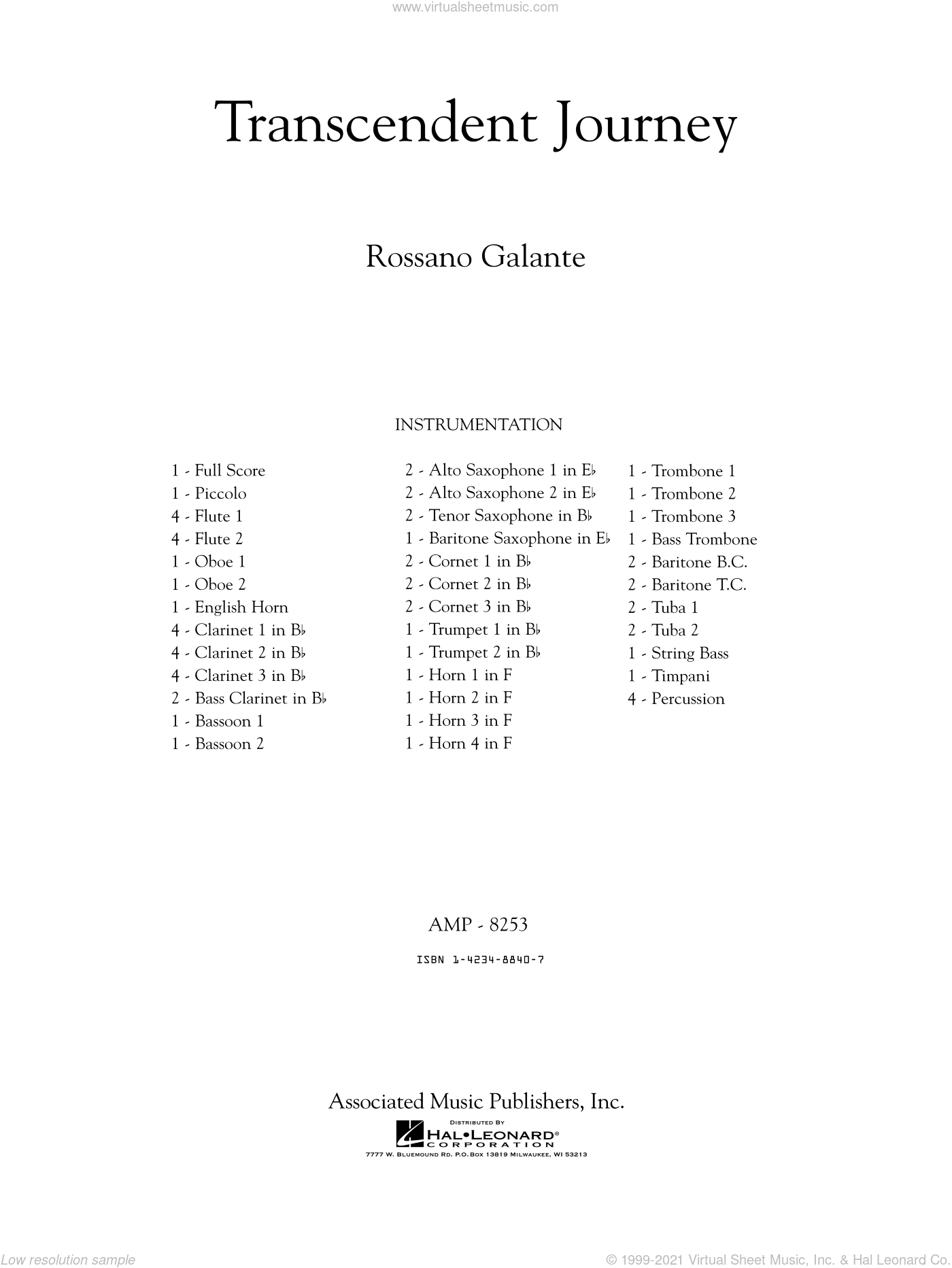 Transcendent Journey sheet music for concert band (full score) by Rossano Galante