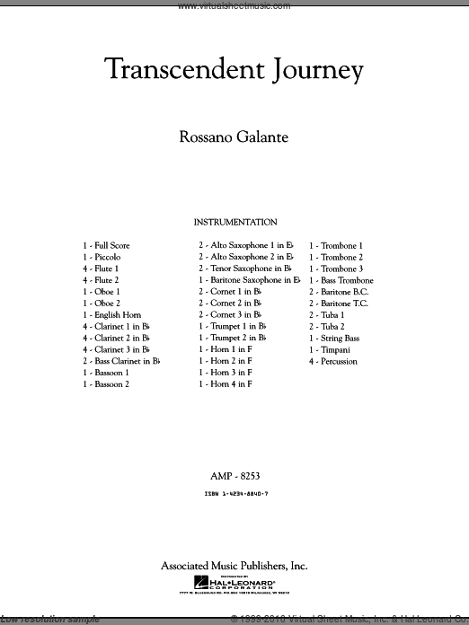 Transcendent Journey (COMPLETE) sheet music for concert band by Rossano Galante