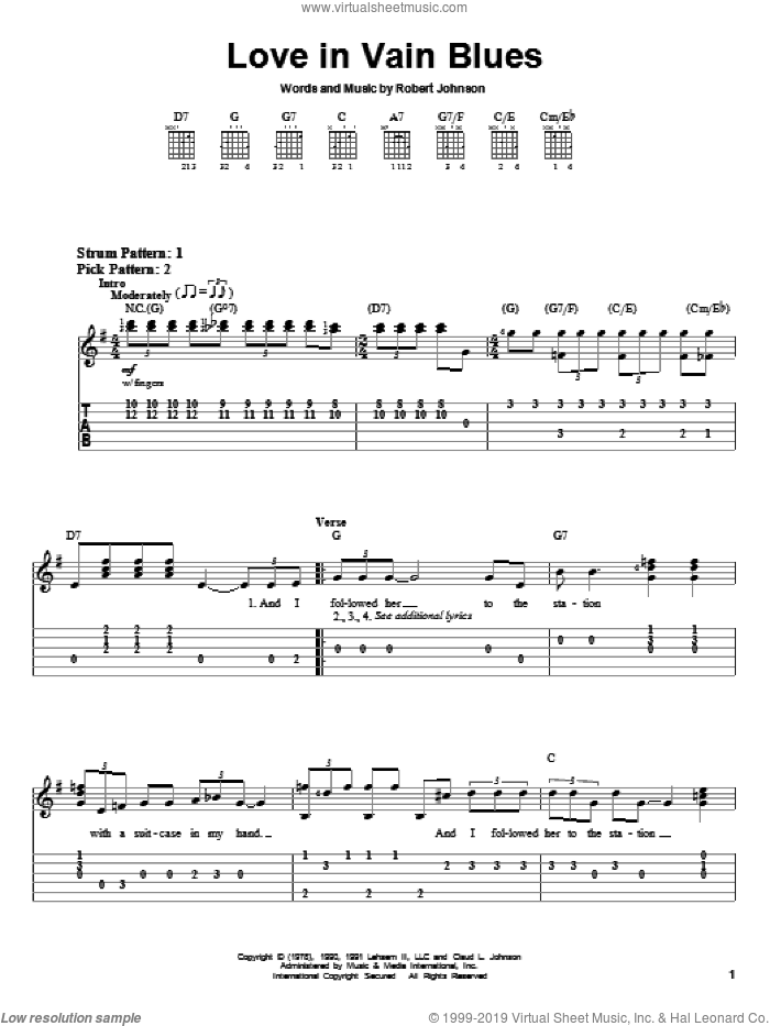 Love In Vain Blues sheet music for guitar solo (easy tablature) by Robert Johnson. Score Image Preview.
