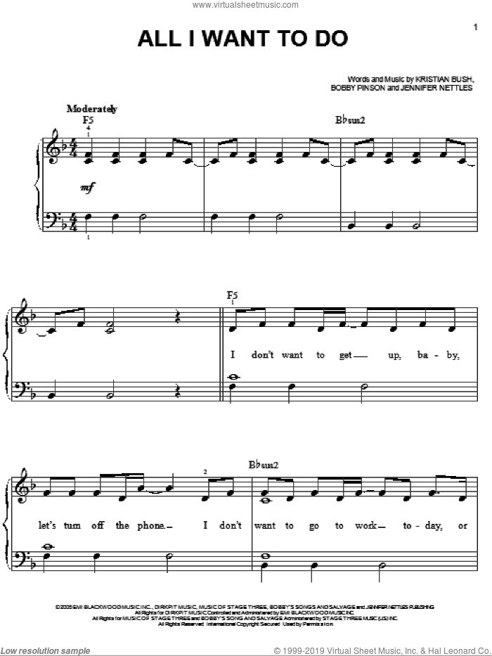 All I Want To Do sheet music for piano solo by Sugarland, Bobby Pinson, Jennifer Nettles and Kristian Bush, easy skill level
