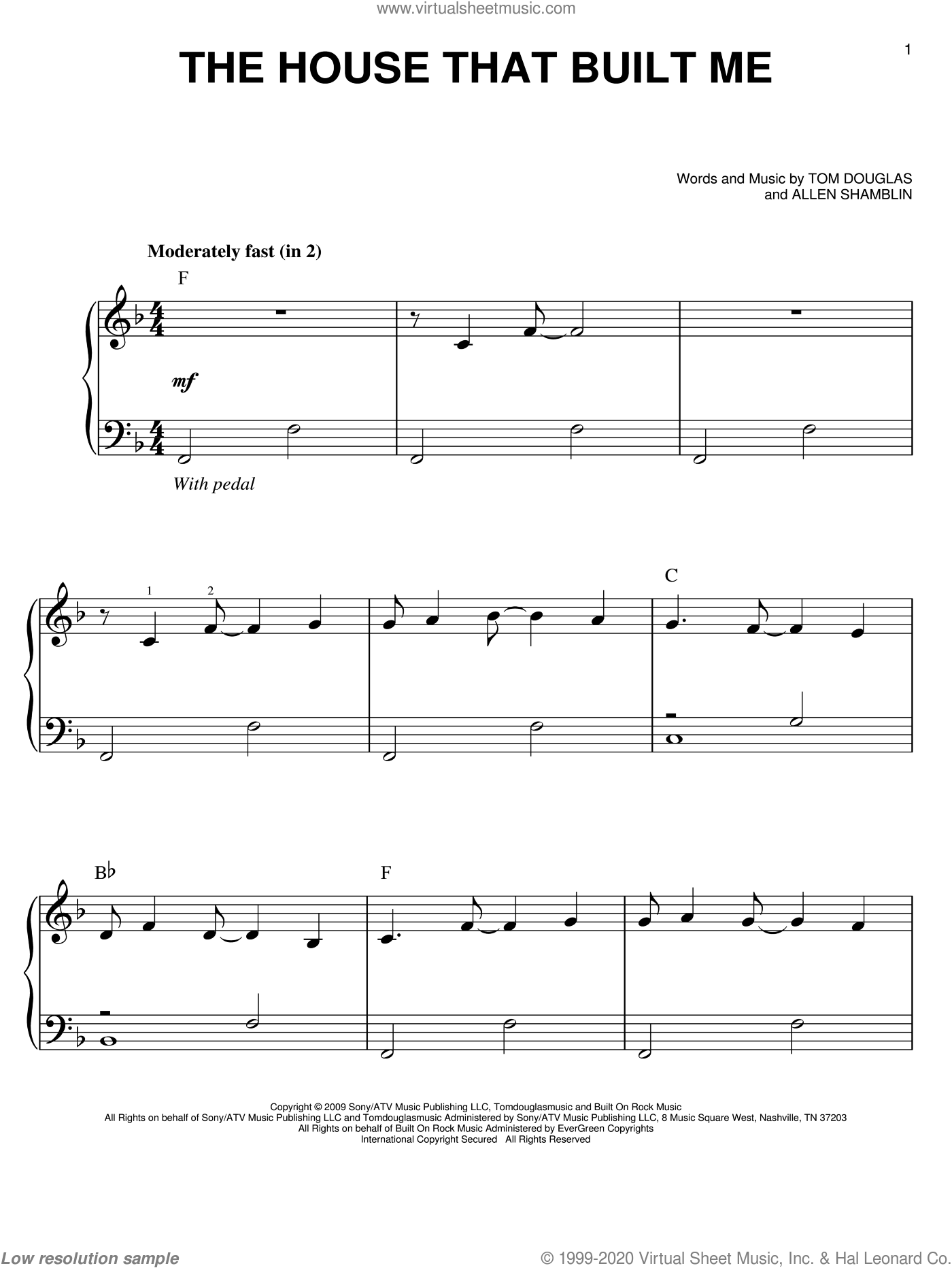 The House That Built Me sheet music for piano solo by Tom Douglas, Miranda Lambert and Allen Shamblin