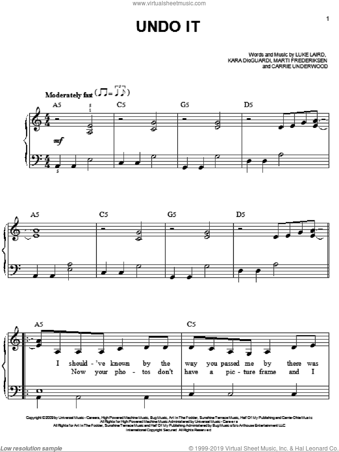 Undo It sheet music for piano solo by Marti Frederiksen, Carrie Underwood, Kara DioGuardi and Luke Laird. Score Image Preview.