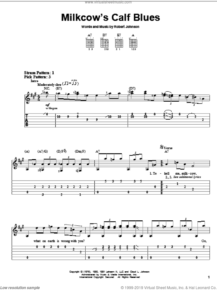 Milkcow's Calf Blues sheet music for guitar solo (easy tablature) by Robert Johnson