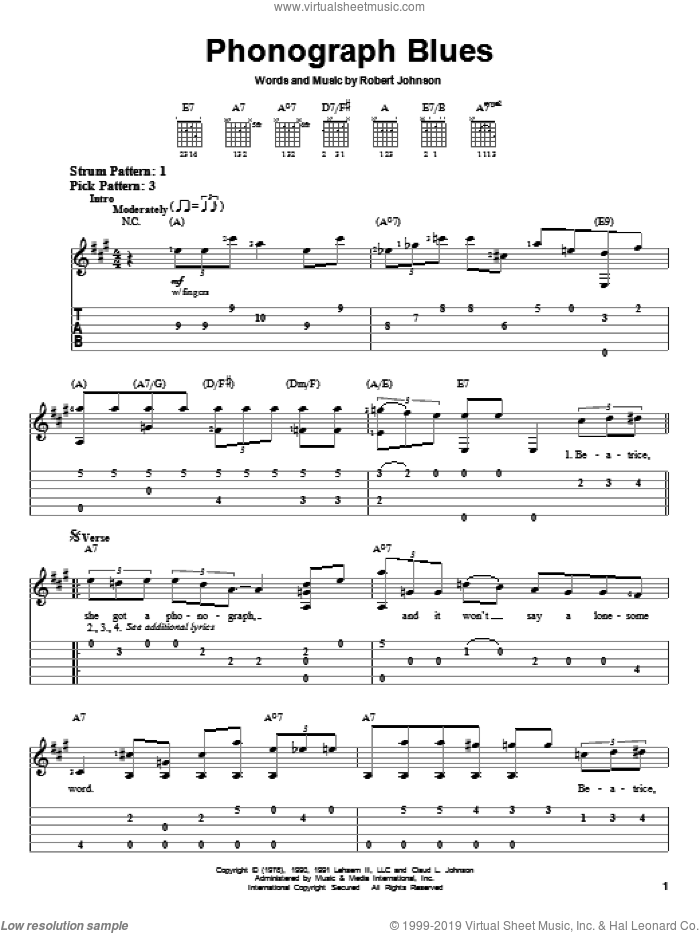 Phonograph Blues sheet music for guitar solo (easy tablature) by Robert Johnson, easy guitar (easy tablature)