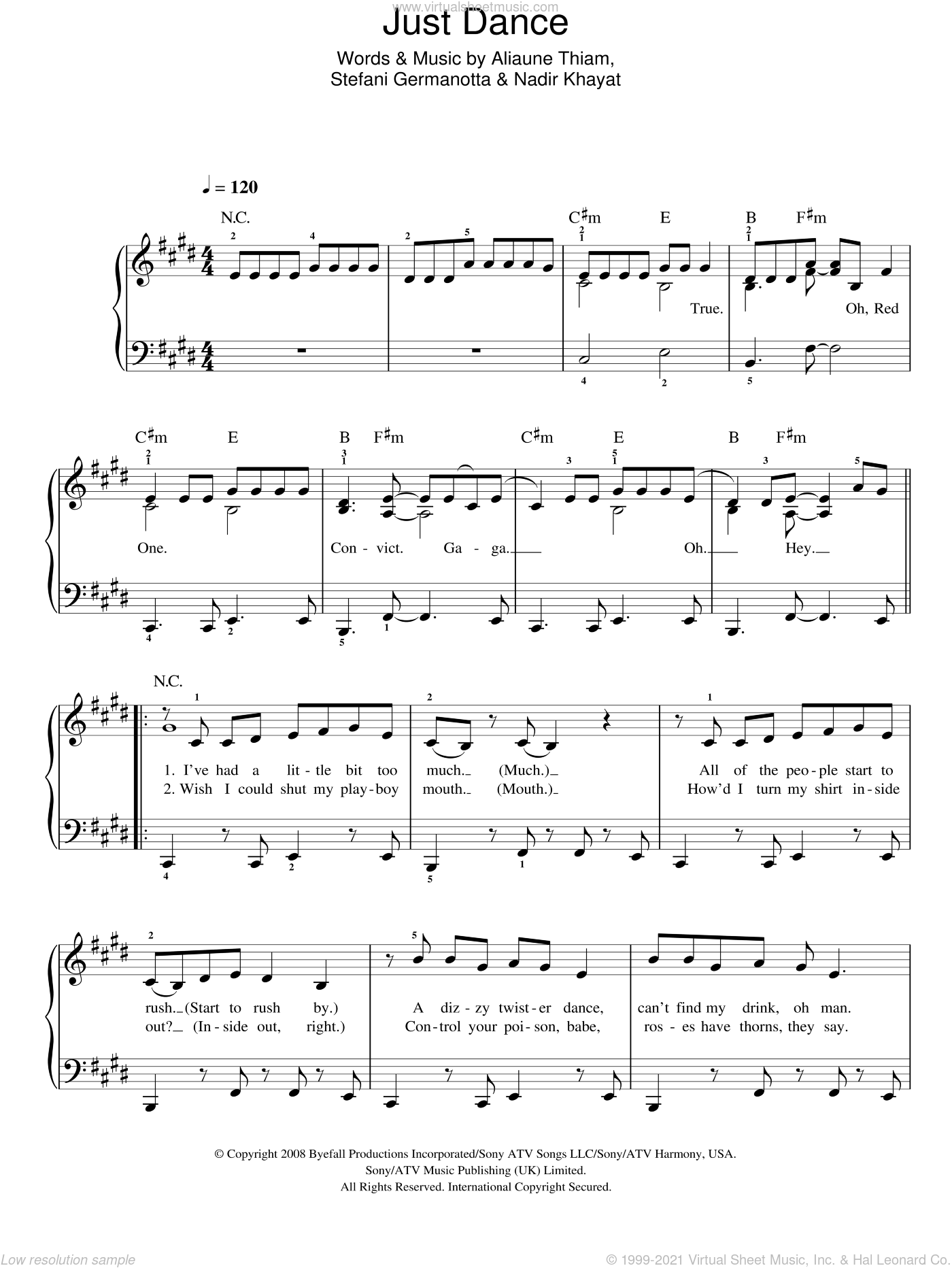 Just Dance sheet music for piano solo by Lady Gaga, Aliaune Thiam and Nadir Khayat. Score Image Preview.