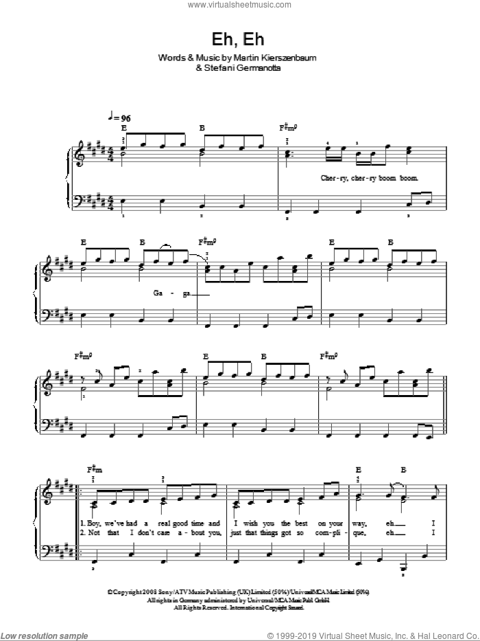 Eh, Eh (Nothing Else I Can Say) sheet music for piano solo by Lady Gaga and Martin Kierszenbaum. Score Image Preview.