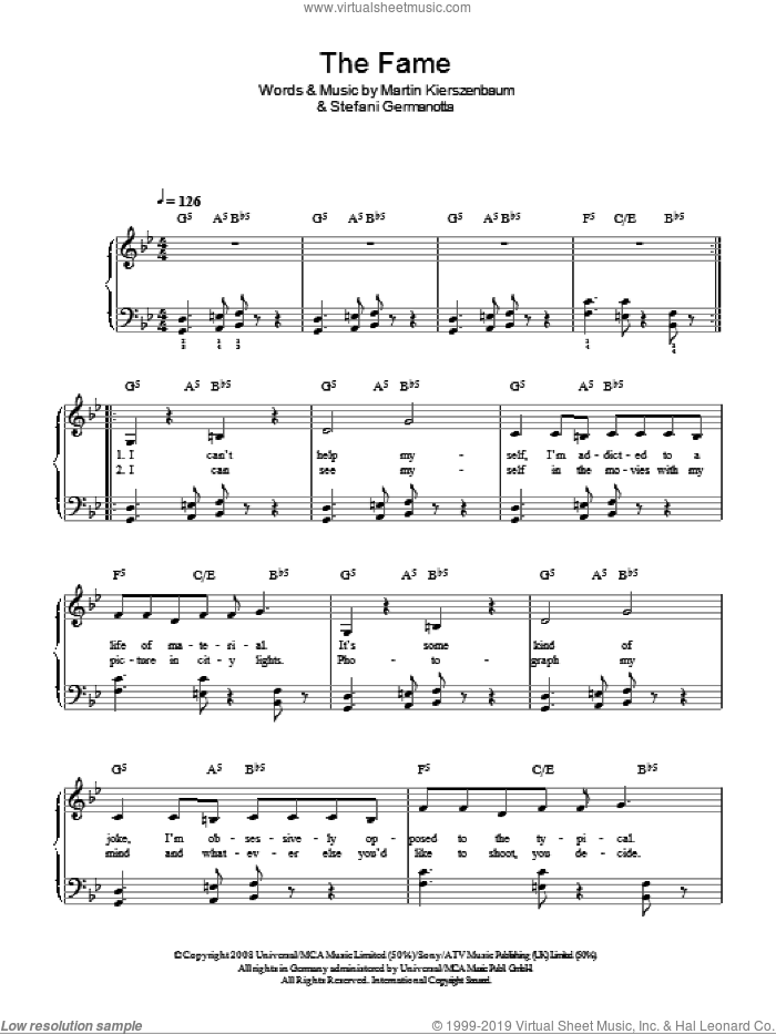 The Fame sheet music for piano solo (chords) by Lady Gaga