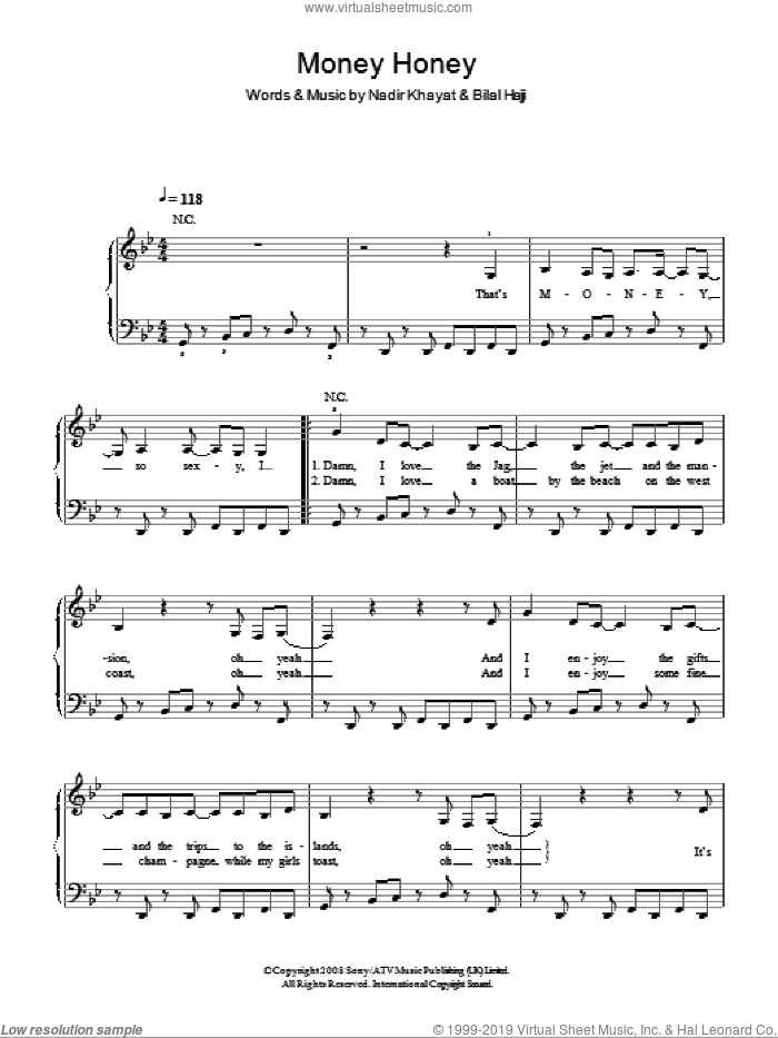 That's Money Honey sheet music for piano solo by Lady GaGa, Bilal Hajji and Nadir Khayat, easy