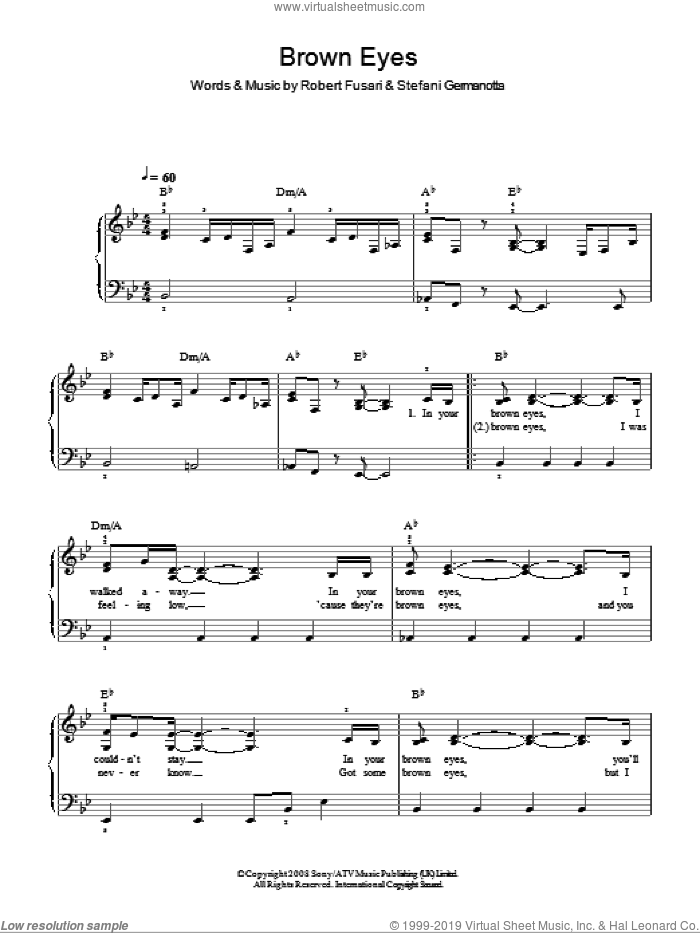 Brown Eyes sheet music for piano solo by Lady Gaga. Score Image Preview.