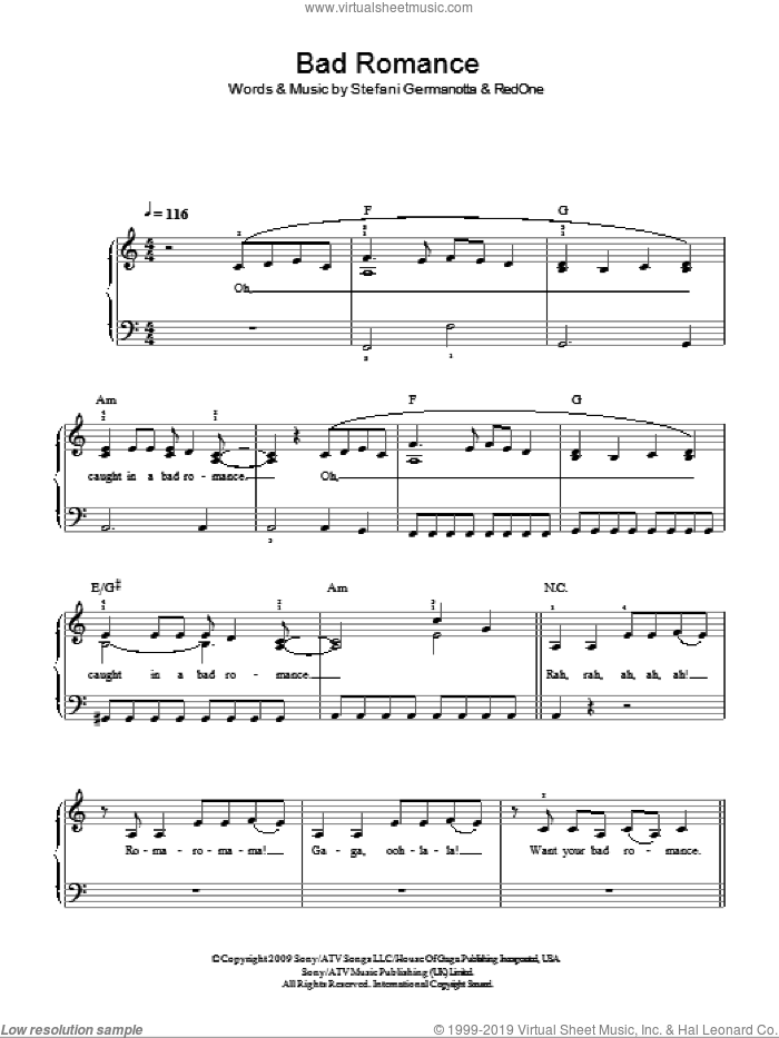 Bad Romance sheet music for piano solo by Lady GaGa and RedOne, easy skill level