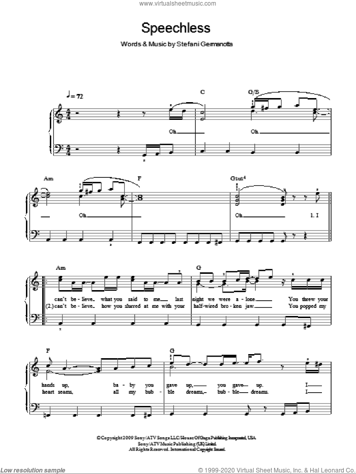 Speechless sheet music for piano solo by Lady GaGa, easy skill level