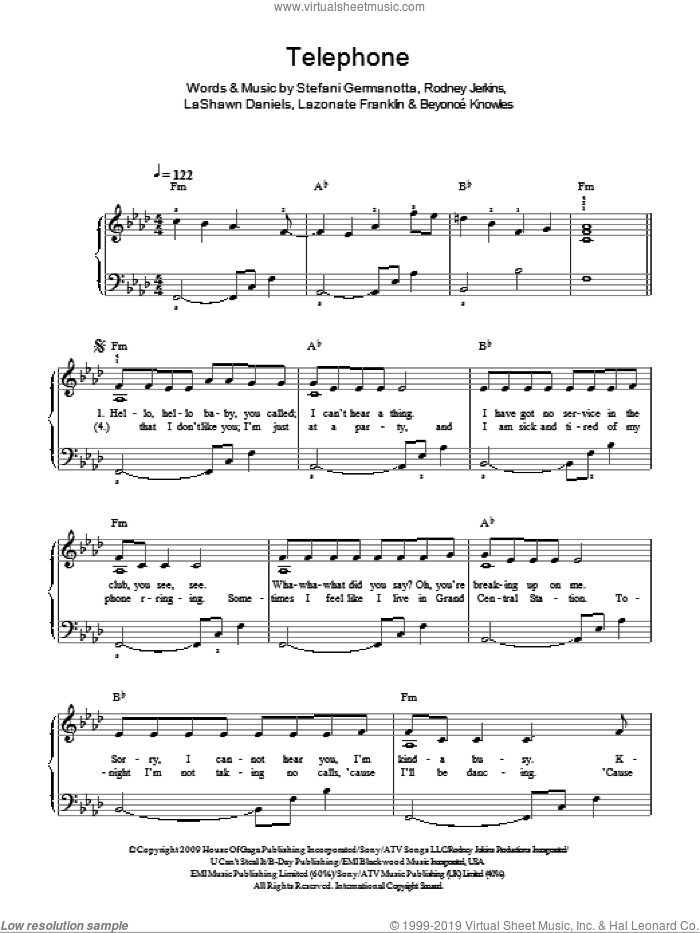 Telephone sheet music for piano solo by Lady Gaga, Beyonce Knowles, LaShawn Daniels and Rodney Jerkins. Score Image Preview.